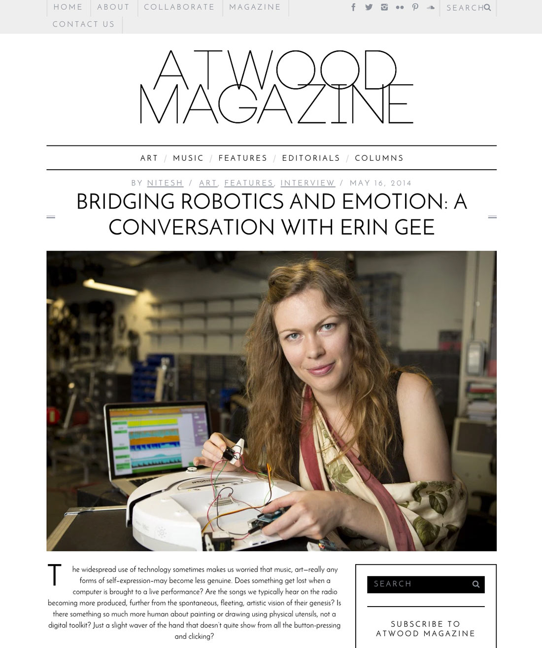 Erin Gee - Atwood Magazine Article